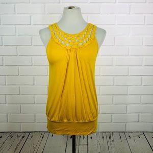 Cable & Guage Yellow Crochet Neck Tank - Small